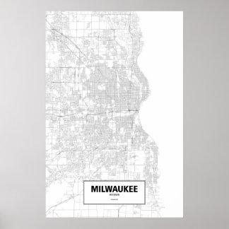 Milwaukee, Wisconsin (black on white) Poster