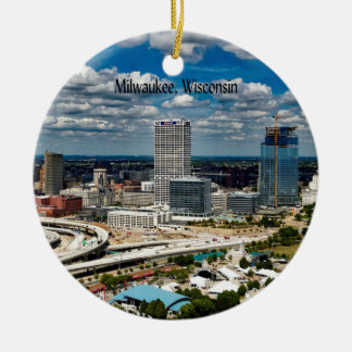 Milwaukee, Wisconsin cityscape Ceramic Ornament