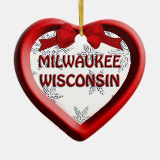 Milwaukee Wisconsin Heart Christmas Ornament