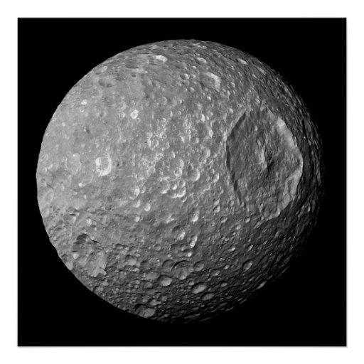 Mimas the Moon of Saturn from Cassini Spacecraft Poster