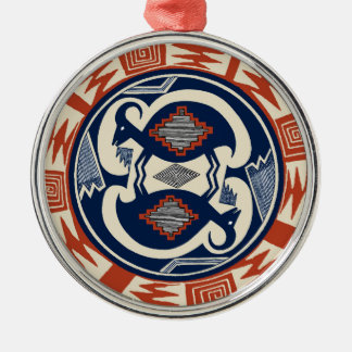 Mimbres Tribal Antelope Silver-Colored Round Decoration