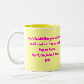 Mimi, Nana's Grandchildren grow with kisses, cu... Two-Tone Coffee Mug