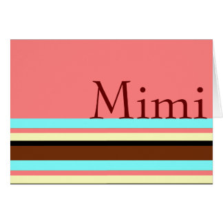 Mimi s Cream blue brown pink Greeting Cards