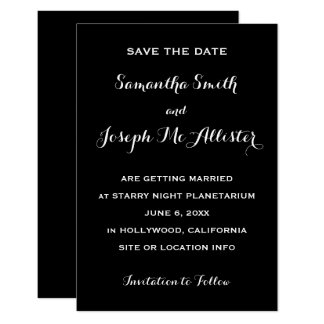 Miminal Black Save the Date Card