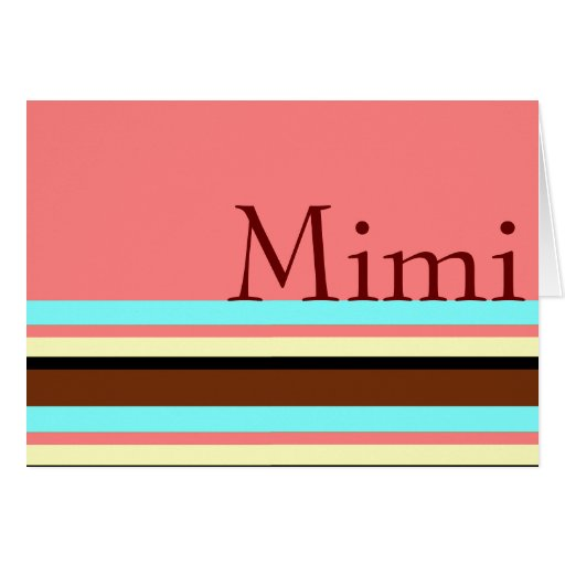 Mimi's Cream blue brown pink Greeting Cards