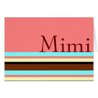 Mimi's Cream blue brown pink Greeting Card