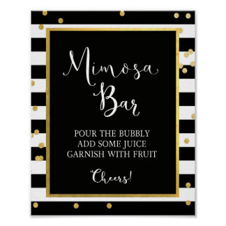 Mimosa Bar Black & Gold Sign
