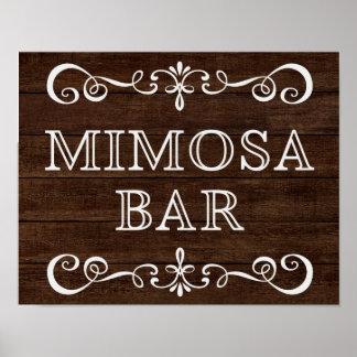 Mimosa Bar Chalkboard Rustic Wooden Wedding Sign