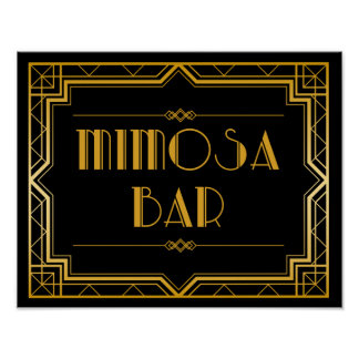 Mimosa Bar Gatsby Wedding Sign - Custom Color