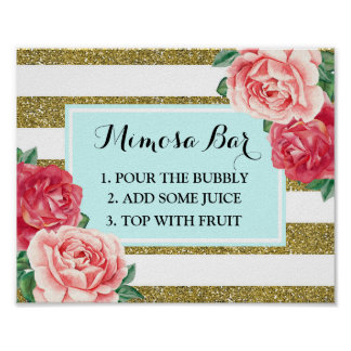 Mimosa Bar Sign Aqua Gold Stripes Pink Floral