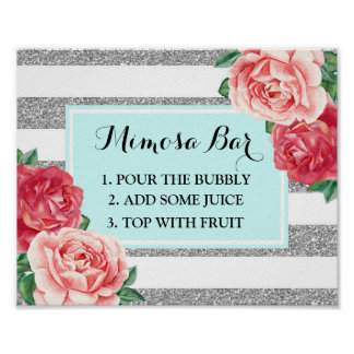 Mimosa Bar Sign Aqua Silver Stripes Pink Floral