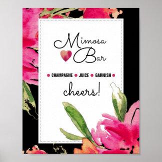 Mimosa Bar Sign | Black Floral Watercolor Print