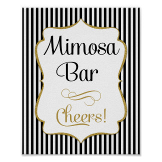 Mimosa Bar Sign Black Gold Stripe