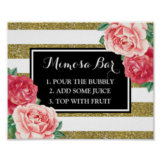 Mimosa Bar Sign Black Gold Stripes Pink Floral