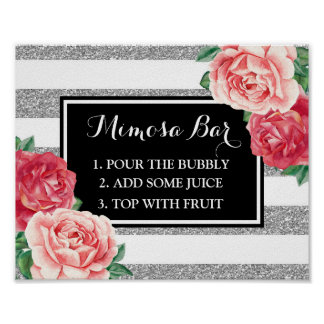 Mimosa Bar Sign Black Silver Stripes Pink Floral