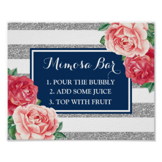 Mimosa Bar Sign Blue Silver Stripes Pink Floral