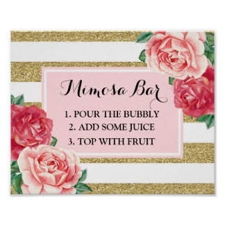 Mimosa Bar Sign Blush Gold Stripes Pink Floral