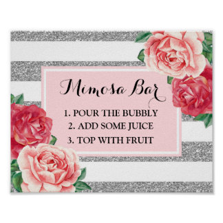 Mimosa Bar Sign Blush Silver Stripes Pink Floral