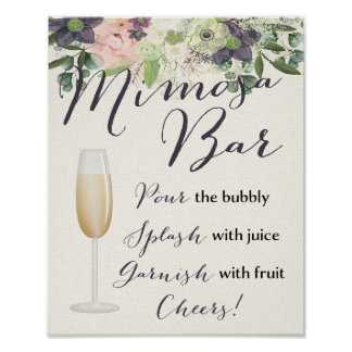 Mimosa Bar Sign Floral Pink Purple Watercolor