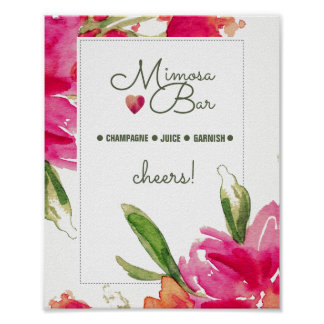 Mimosa Bar Sign | Floral Watercolor Design