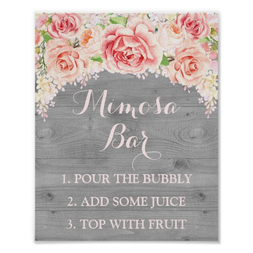 Mimosa Bar Sign Pink Watercolor Flowers Wood