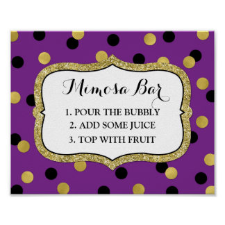 Mimosa Bar Sign Purple Black Gold Confetti