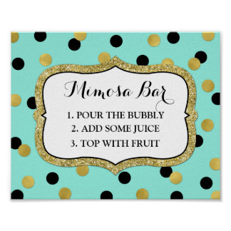 Mimosa Bar Sign Teal Black Gold Confetti