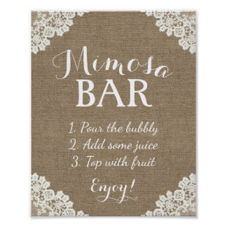 Mimosa Bar Sign | Vintage Burlap & Lace