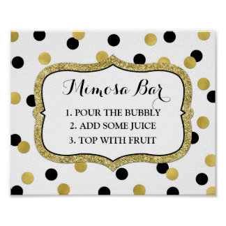 Mimosa Bar Sign White Black Gold Confetti