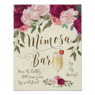 Mimosa Bar Wedding Sign Burgundy Pink
