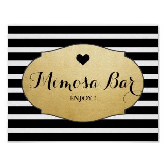 Mimosa Bar Wedding Sign Faux Gold Foil Stripes