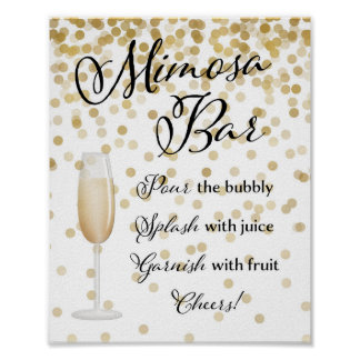 Mimosa Bar Wedding Sign Gold