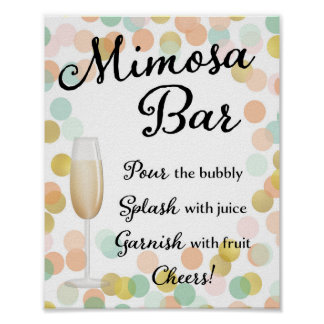Mimosa Bar Wedding Sign Gold, Pink, Mint