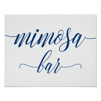Mimosa Bar Wedding Sign in Navy Blue Calligraphy