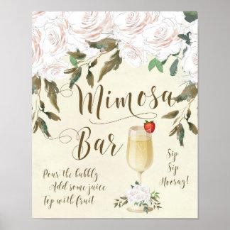 Mimosa Bar Wedding Sign ivory florals
