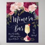 Mimosa Bar Wedding Sign Navy Burgundy floral