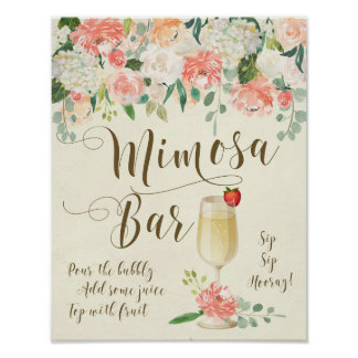 Mimosa Bar Wedding Sign peach florals