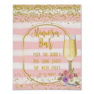Mimosa Bar Wedding Sign pink gold confetti
