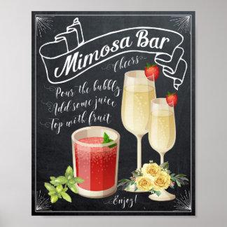 Mimosa Bar Wedding Sign yellow roses BBQ