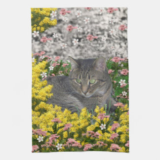 Mimosa the Tiger Cat in Mimosa Flowers Hand Towel