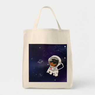 Min Pin Astronaut in Space Grocery Bag Shop Tote