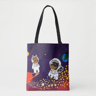 Min Pin Astronaut in Space Tote Bag