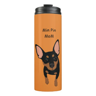 Min Pin Dog Mom Portrait Thermal Tumbler