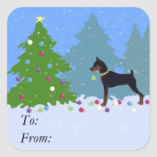 Min Pin in the Forest Decorating Christmas Tree Square Sticker