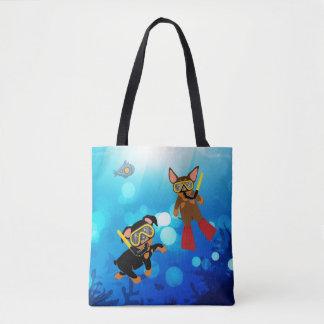 Min Pin Scuba Diving Under the Sea Tote Bag