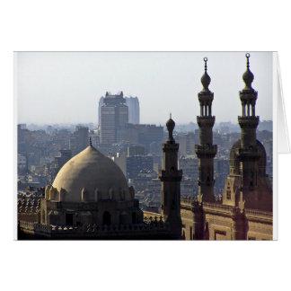 Minarets view of Sultan Ali mosque Cairo Card