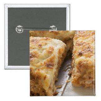 Mince lasagne, a portion cut 15 cm square badge
