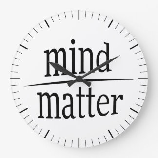 Mind Over Matter Motivational Word Fraction Large Clock