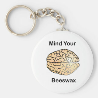Mind Your Beeswax: Honeycomb Brain Basic Round Button Key Ring