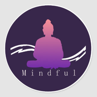 """Mindful"" Beautiful Buddha. Classic Round Sticker"